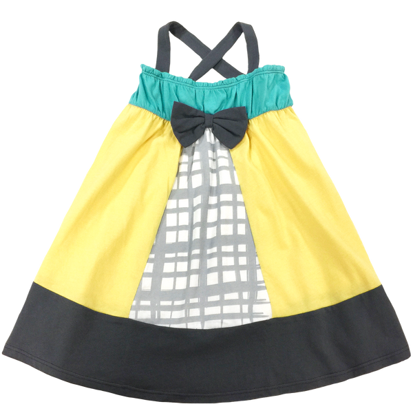Yellow/Teal Panel Dress - Hibou Clothing