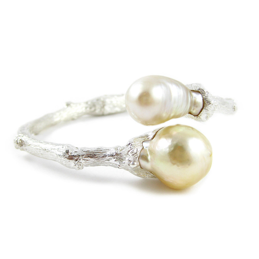 Hinged Twig Bracelet with South Sea Pearls