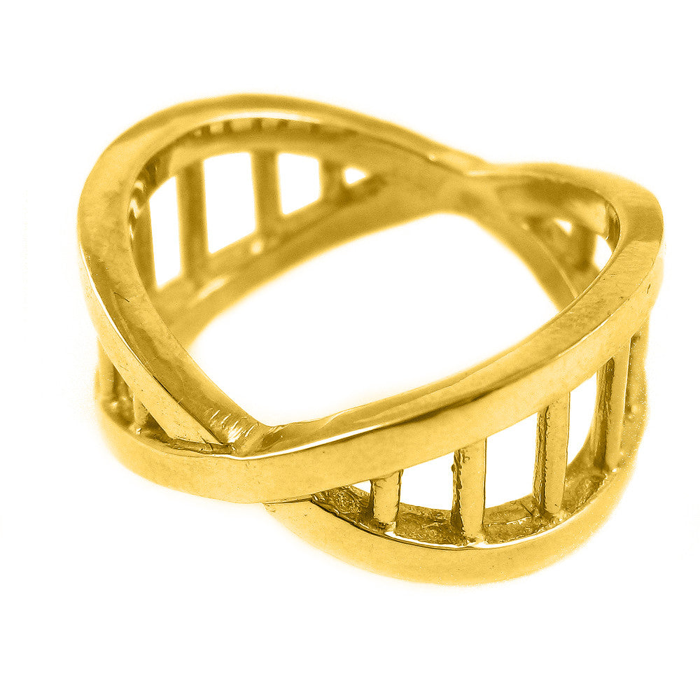 DNA ring in 18k yellow, white, or rose gold.