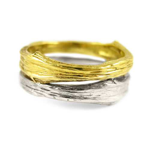 Gents medium double-band Twig ring in 18k yellow and white gold