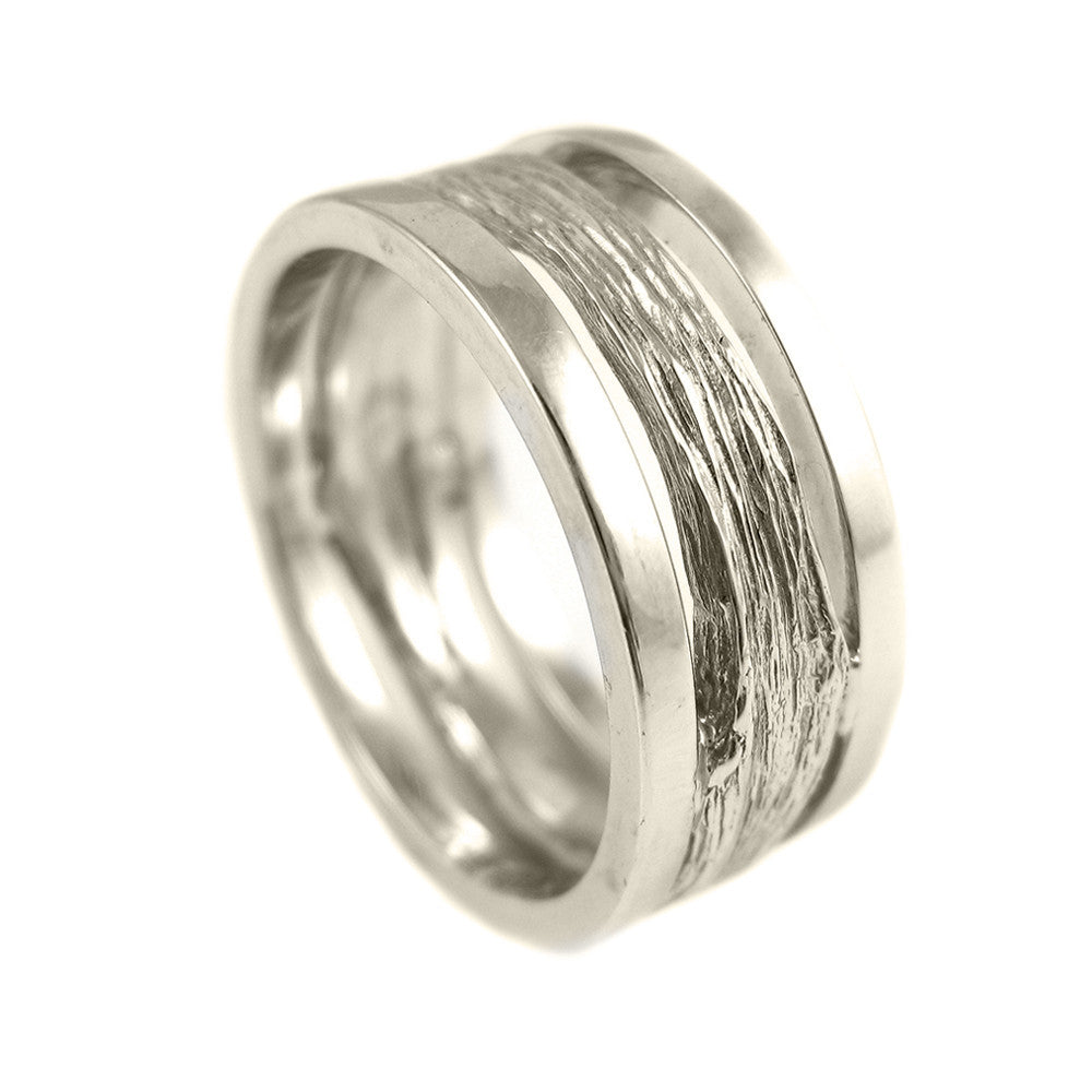 Gents medium Twig ring with pipe-cut, brushed outer bands in 18k white gold.