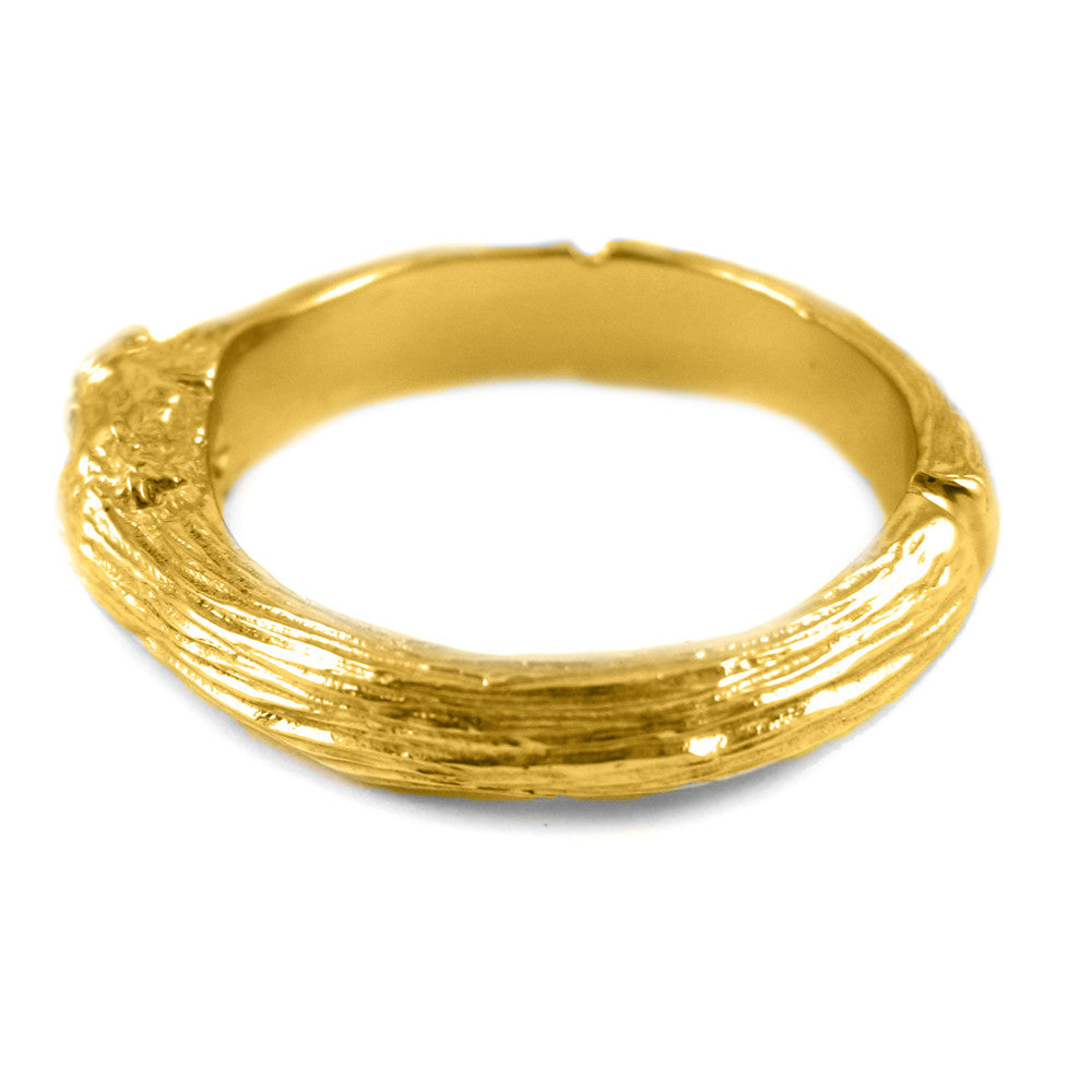 Large Twig ring in 18k yellow gold.