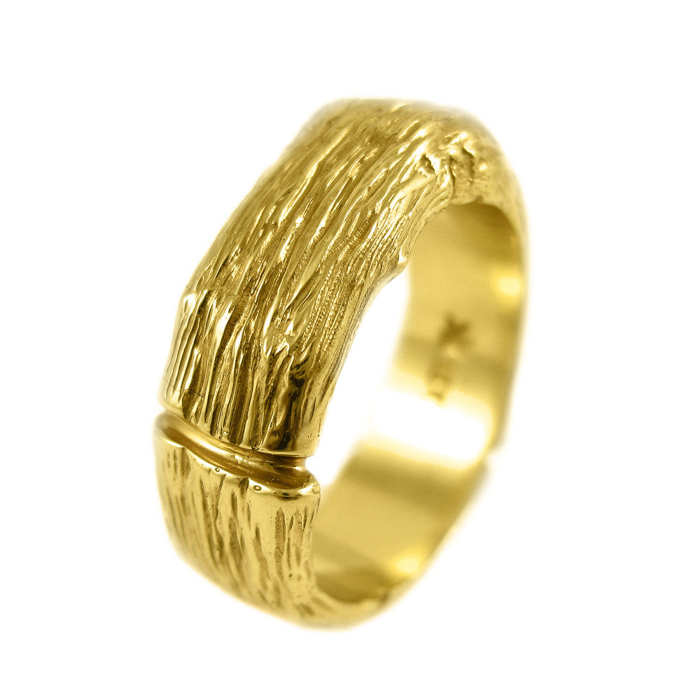 Gents extra-large Twig ring in 18k yellow gold