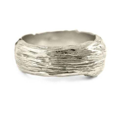 Gents extra-large Twig ring in 18k white gold