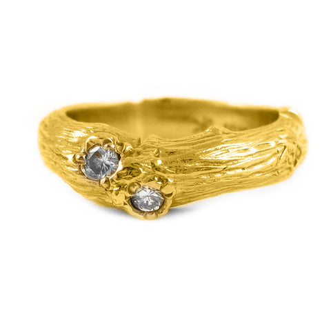 Ladies Laurel Wedding Band with Diamonds