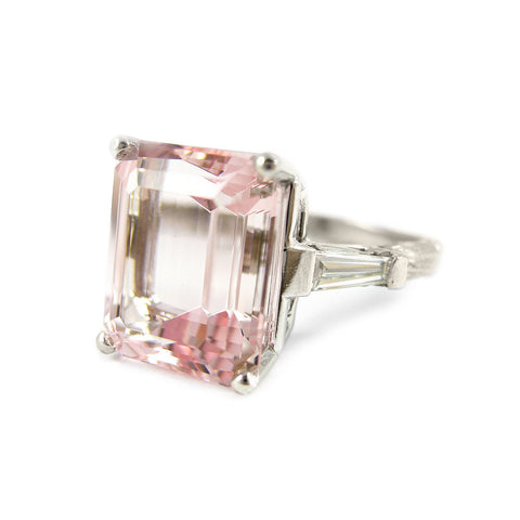 Morganite and Diamond Sage Engagement Ring