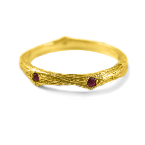 Sage Wedding Band with Rubies