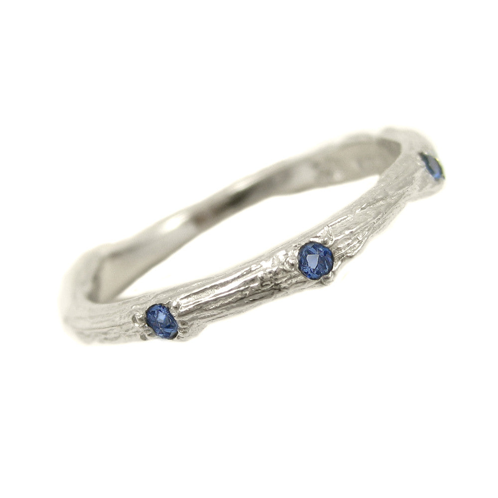 Sage Wedding Band with Sapphires