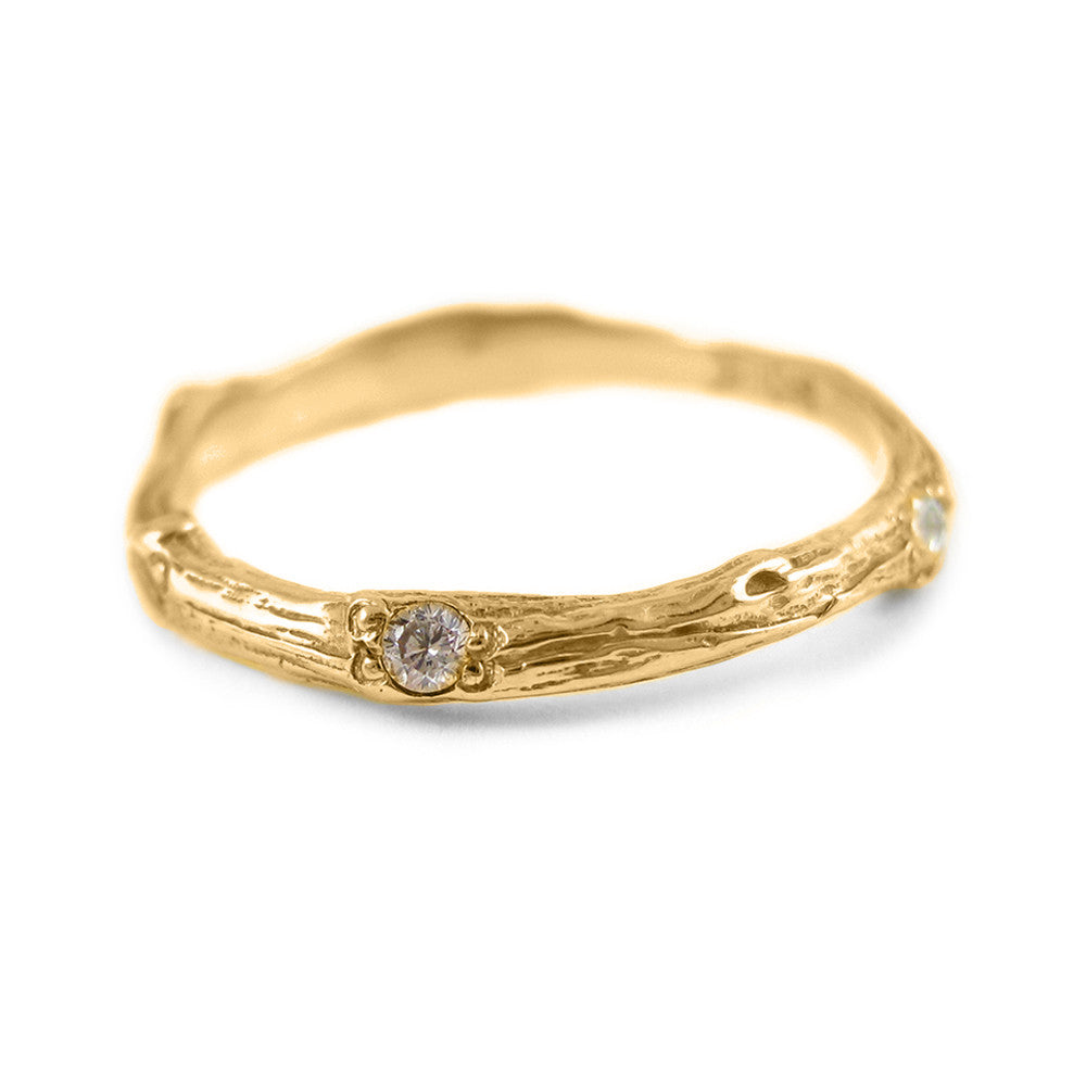 Sage Wedding Band with Diamonds