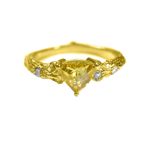 Small Twig ring in 18k yellow gold with a rose cut diamond and diamonds.