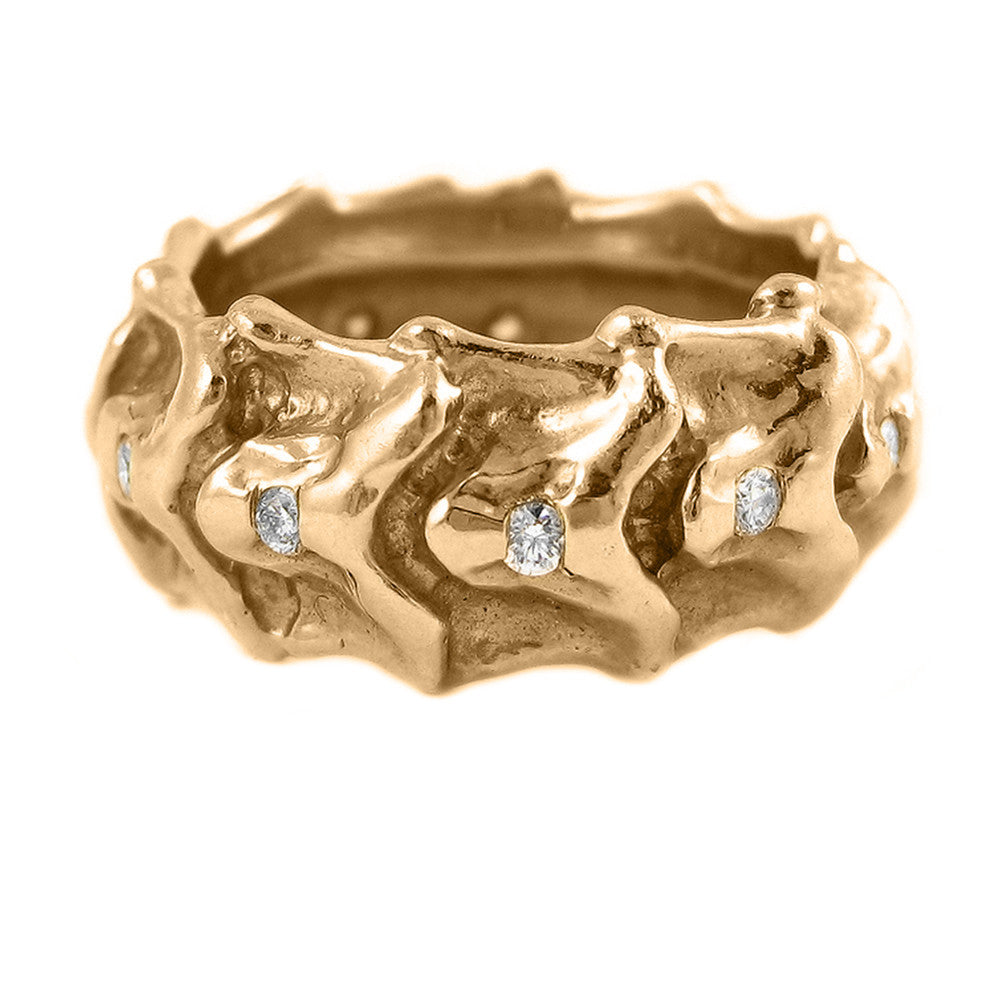 Wide Vertebrae Diamond Band