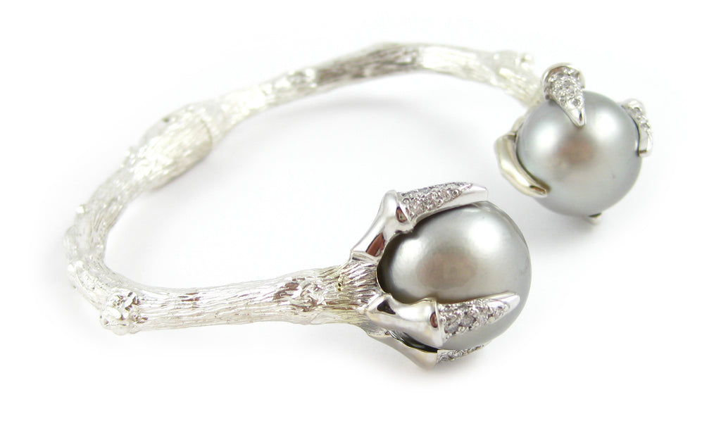 Twig Talon Claw Cuff with Tahitian Pearls and Diamonds