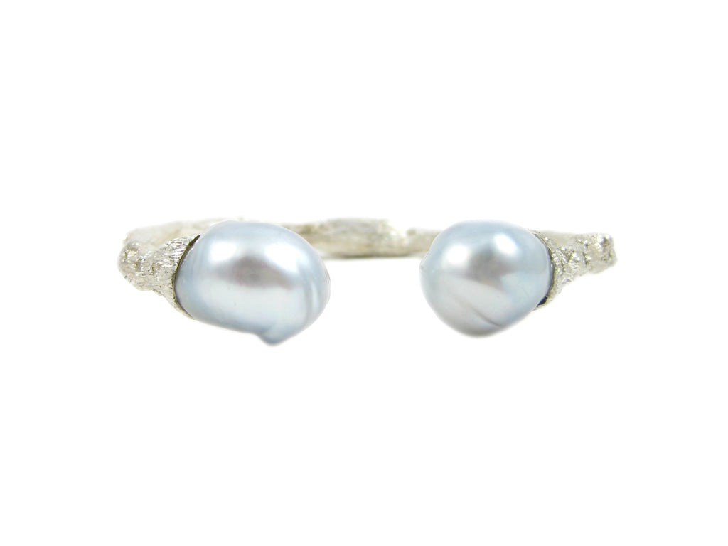 Torque Twig Cuff with South Sea Pearls and Diamonds