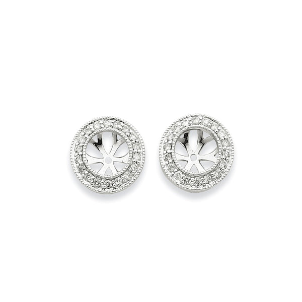 14k White Gold Diamond Simple Round Form Earring Jackets - 0.304cttw