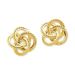 14k Yellow Gold Textured Love Knot Earring Jackets