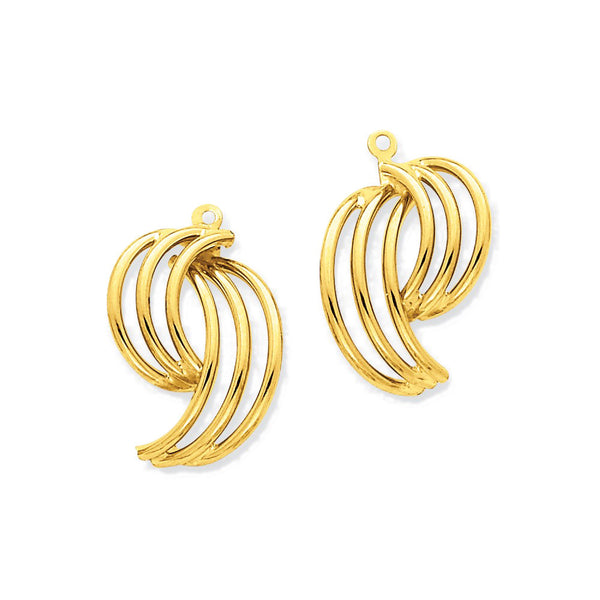 14k Yellow Gold Abstract Earring Jackets