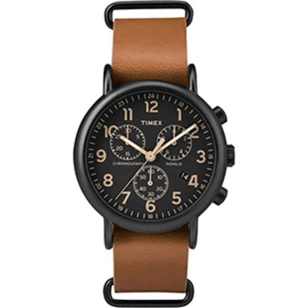 Timex Weekender® Chrono Oversized Watch - Black Dial-Brown Strap