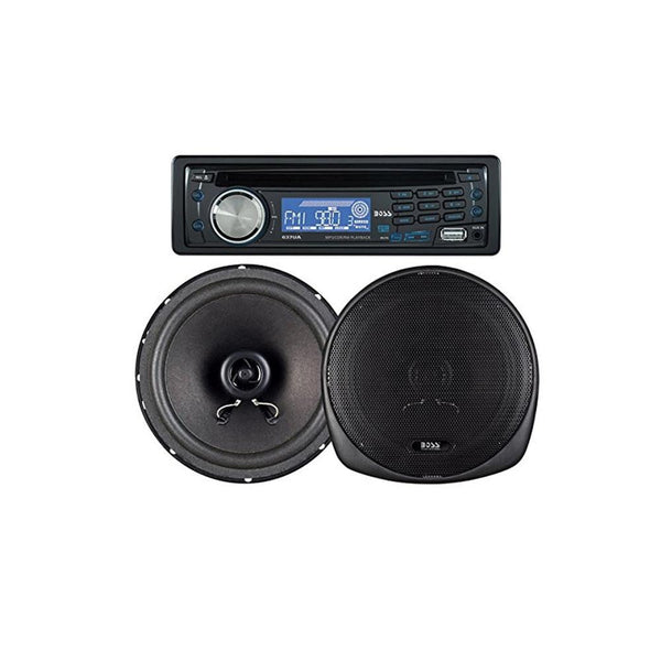 BOSS AUDIO 647CK Package Includes 637UA Single-Din CD AM-FM CD Receiver With USB Port Plus one Pair of 6.5 inch Speakers