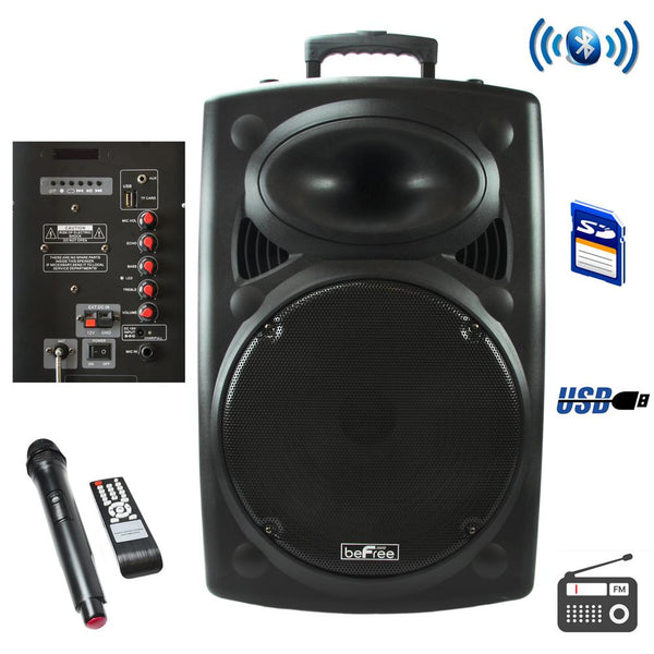beFree Sound 12 Inch Bluetooth Powered Portable PA Speaker