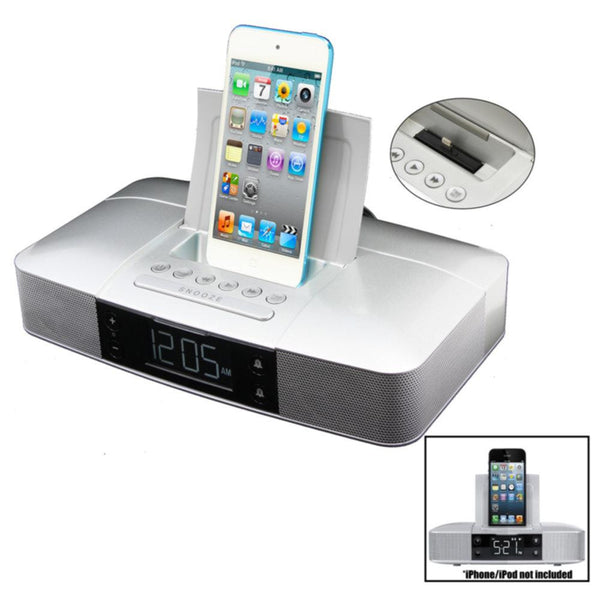 Capello Stereo FM Clock Alarm Radio with Lightning Dock for iPhone 5-5S and 6