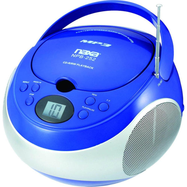Naxa Portable MP3-CD Player with AM-FM Stereo Radio- Blue
