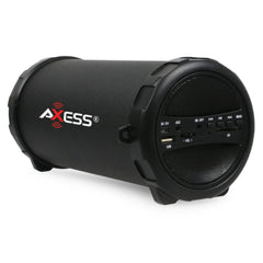 Axess Portable Bluetooth Indoor-Outdoor Hi-Fi Cylinder Loud Speaker with SD Card and USB Input in Blue Color