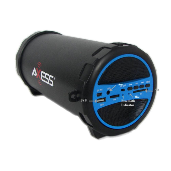 New Top Trending Axess Portable Bluetooth Indoor-Outdoor Hi-Fi Cylinder Loud Speaker with SD Card and USB Input in Blue Color Hot Sale