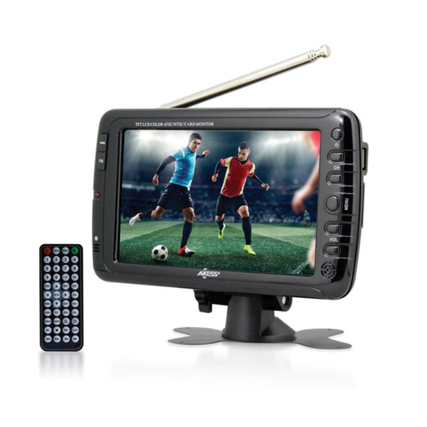 Axess 7 LCD TV with ATSC-NTSC Digital Tuner Built-in Rechargeable Battery and USB-SD Card Reader