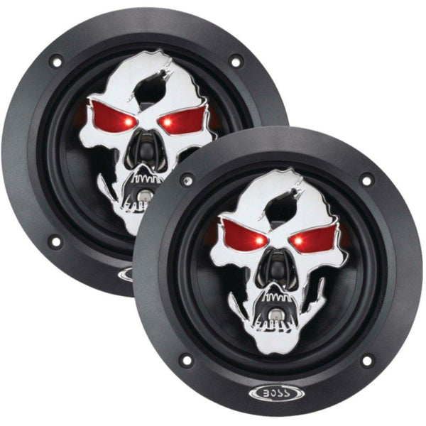 BOSS AUDIO SK553 Phantom Skull 3-Way Black Injection Cone Speakers with Custom-Tooled Skull Cover (5.25)