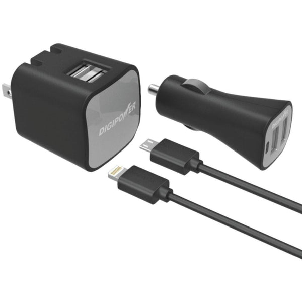 DIGIPOWER IS-PK2ML InstaSense(TM) 2.4-Amp Dual-Port USB Car Charger & Wall Charger with 5ft Lightning(TM) & Micro USB Cables