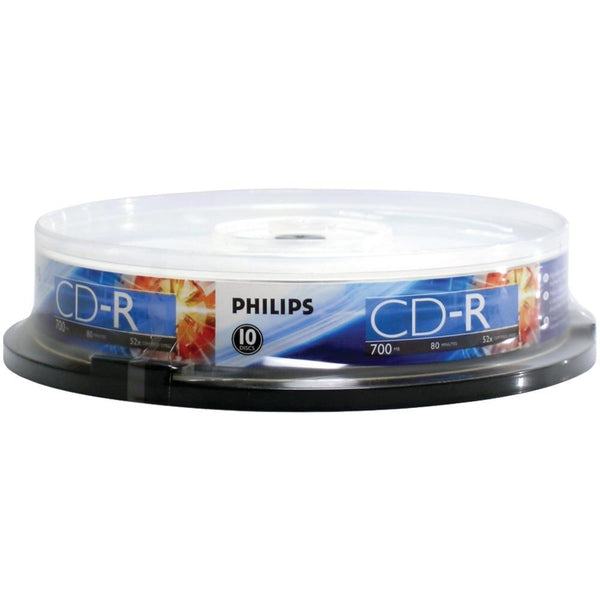 PHILIPS CR7D5NP10-17 700MB 80-Minute 52x CD-Rs (10-ct Cake Box Spindle)