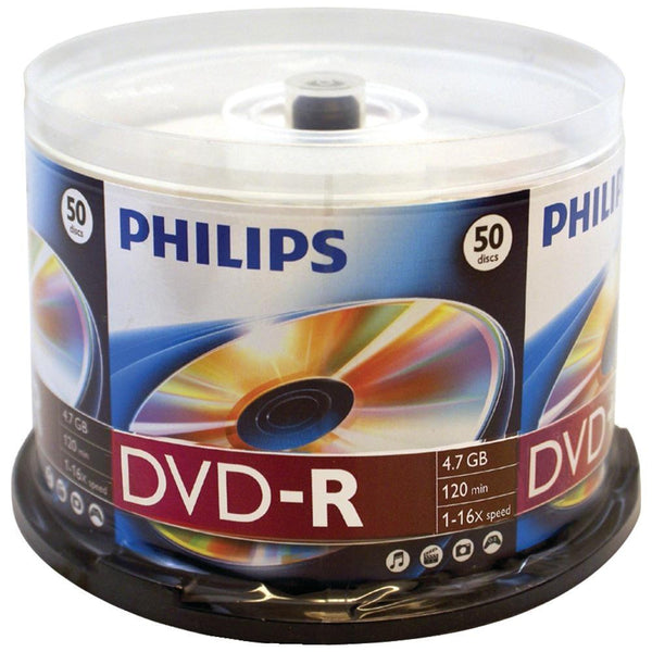 PHILIPS DM4S6B50F-17 4.7GB 16x DVD-Rs (50-ct Cake Box Spindle)