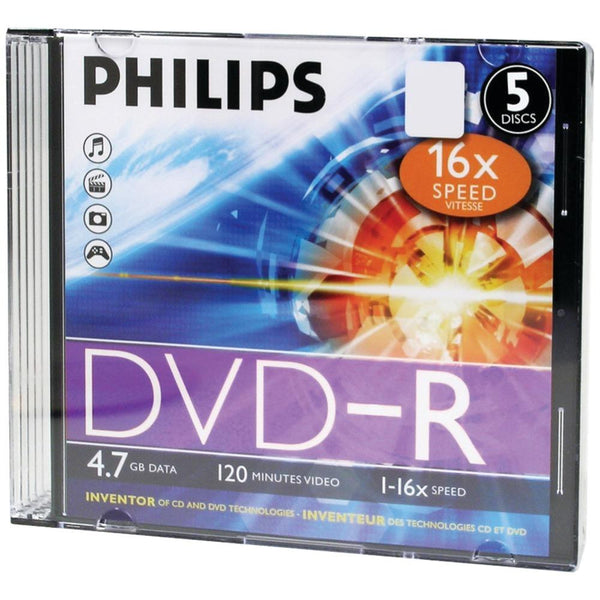 PHILIPS DM4S6S05F-17 4.7GB 16x DVD-Rs with Slim Jewel Cases, 5 pk