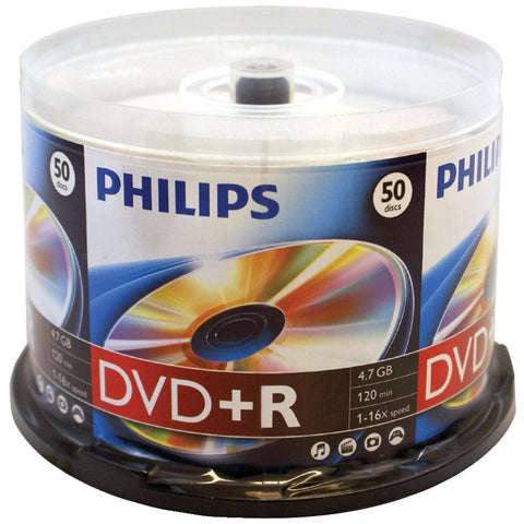 PHILIPS DR4S6B50F-17 4.7GB 16x DVD+Rs (50-ct Cake Box Spindle)