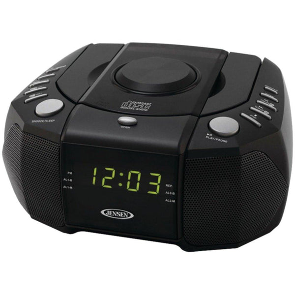 JENSEN JCR-310 Dual Alarm Clock AM-FM Stereo Radio with Top-Loading CD Player