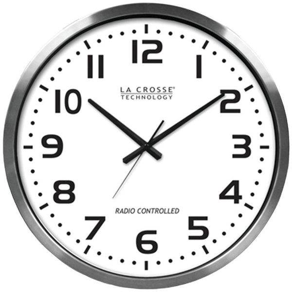 LA CROSSE TECHNOLOGY 404-1220 20 Brushed Aluminum Atomic Wall Clock