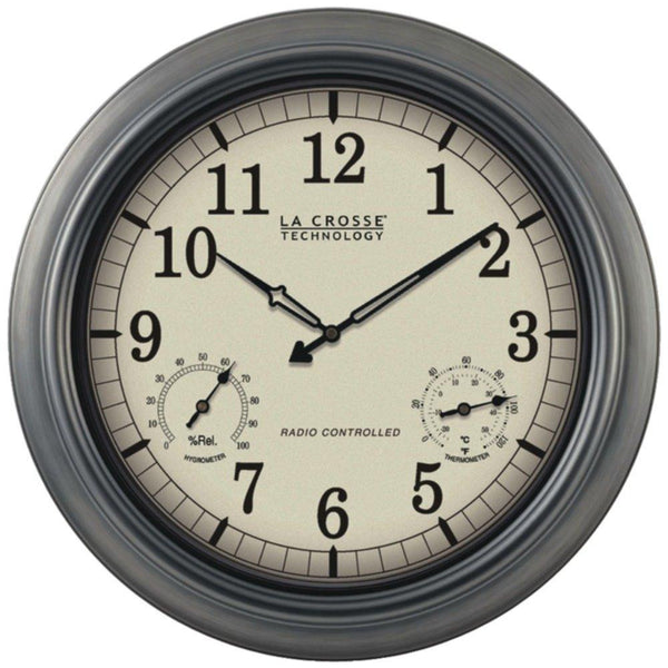 LA CROSSE TECHNOLOGY WT-3181P Indoor-Outdoor 18 Atomic Wall Clock with Thermometer Hygrometer
