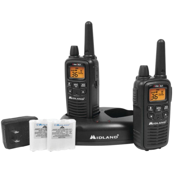 MIDLAND LXT600VP3 30-Mile GMRS Radio Pair Pack with Drop-in Charger & Rechargeable Batteries