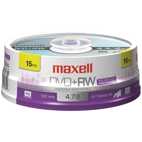 MAXELL 634046 4.7GB DVD+RWs (15-ct Spindle)