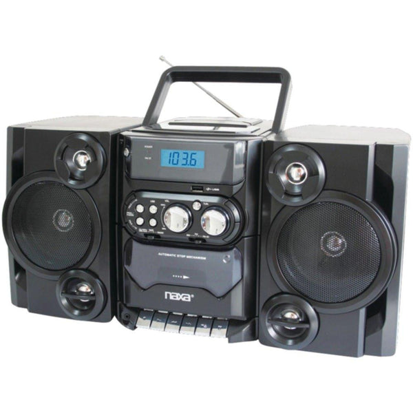 NAXA NPB428 Portable CD-MP3 Player with AM-FM Radio, Detachable Speakers, Remote & USB Input