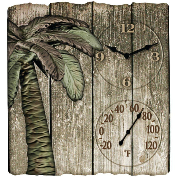 TAYLOR 91940 12 x 13 Palm Tree Poly Resin Clock with Thermometer