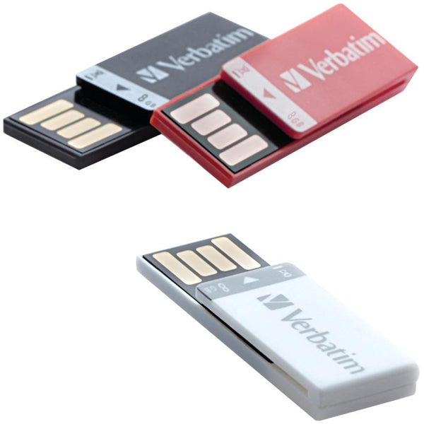 VERBATIM 98674 8GB Clip It USB Drives, 3 pk