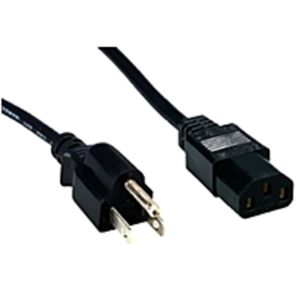 Comprehensive Standard PC Power Cord, NEMA 5-15P to IEC 60320-C13, 18-3 SVT, Black 1ft. - 120 V AC Voltage Rating - Black