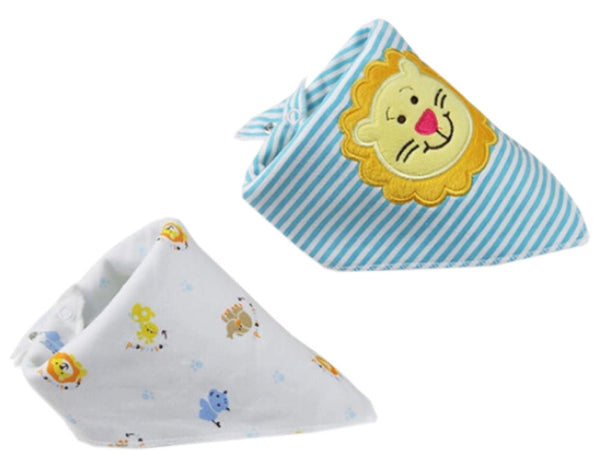 2 PCs Lovely Cool Lion Saliva Towel Adjustable Baby NeckScarf Neckerchief 15*11