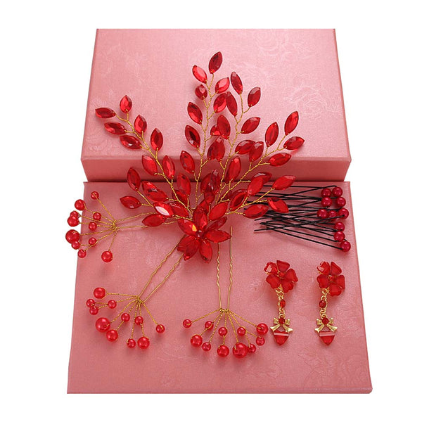 Handmade Red Wedding Bridal Jewelry Hair Style Accessories Earrings Sets, #14