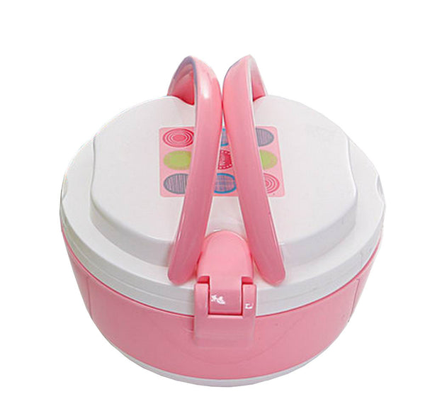 2 Layers Bento Lunch Box Food Container with Handles Round Pink