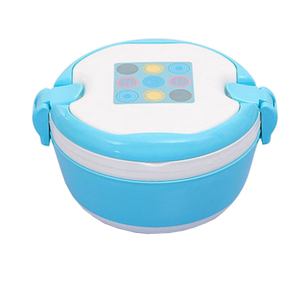2 Layers Bento Lunch Box Food Container with Handles Round Blue