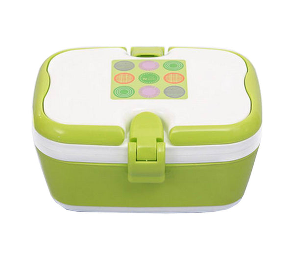 2 Layers Bento Lunch Box Food Container with Handles Green