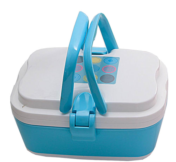 2 Layers Bento Lunch Box Food Container with Handles Blue