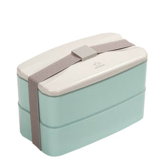 Fashionable 2 Layers Bento Lunch Box Food Container Blue